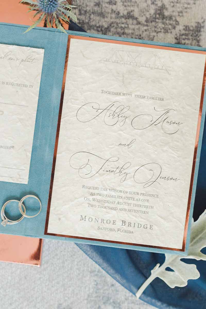 copper rimmed wedding invitation