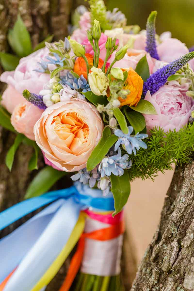 close up of colorful bouquet