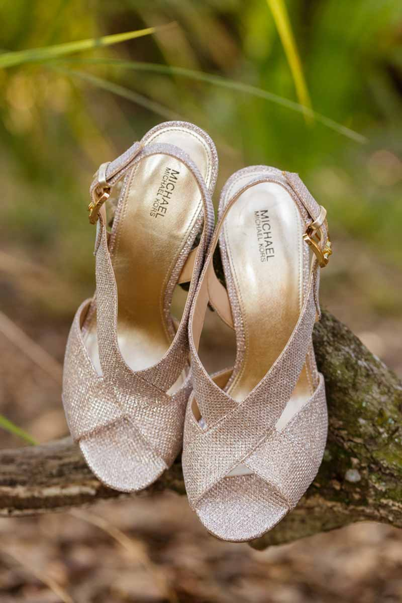 Michael Kohls bridal shoes on tree branch