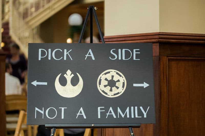 Rebel Alliance and Galactic Empire wedding ceremony sign