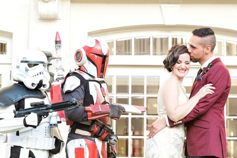 Bride and Groom next to Storm Troopers
