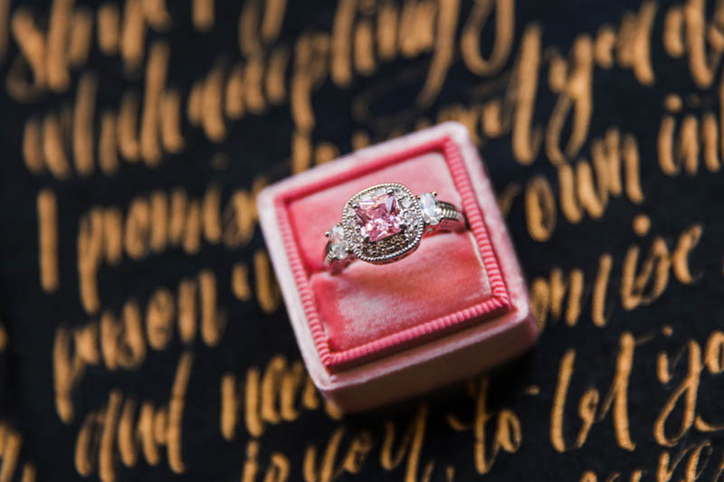 pink diamond engagement ring in pink ring box