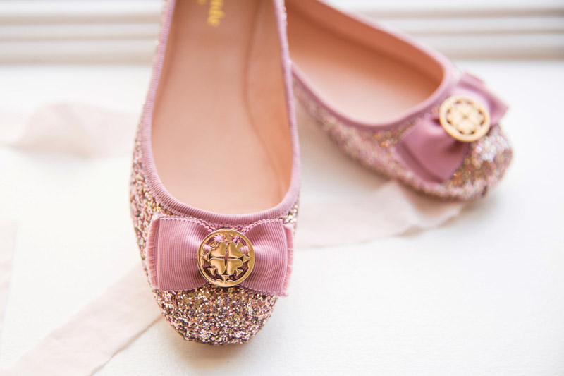 big ballet flats with pink glitter