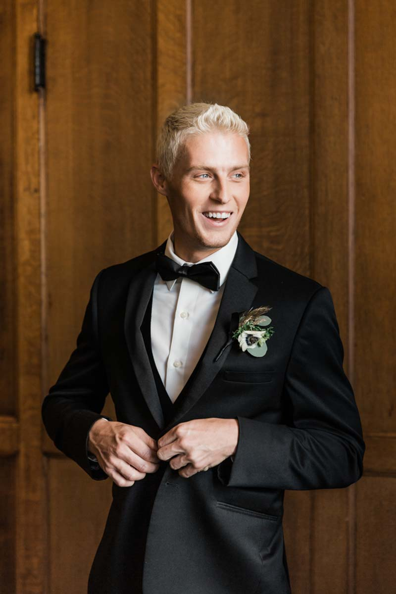 groom buttoning black tux