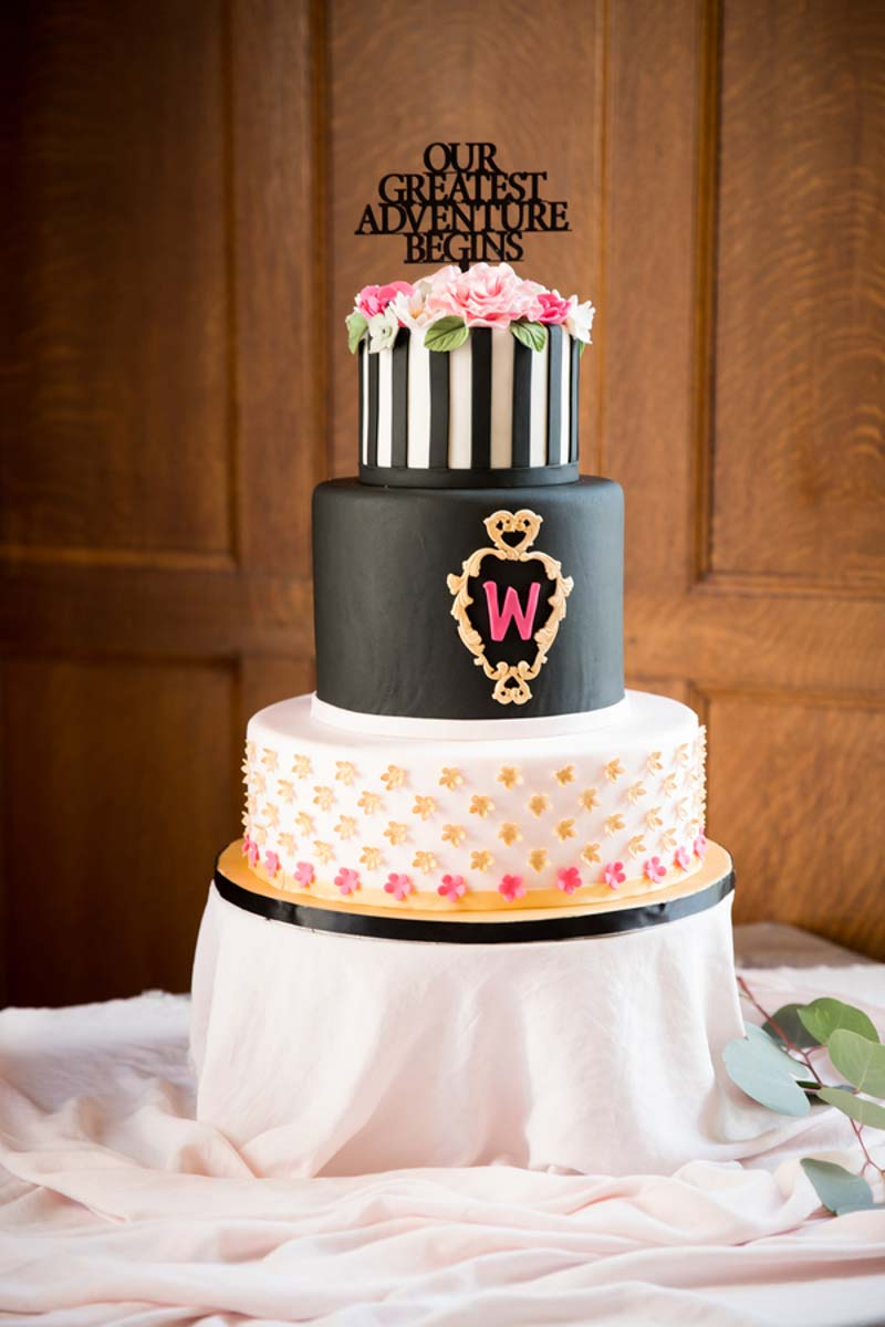 black and white Kate Spade inspired wedding cake