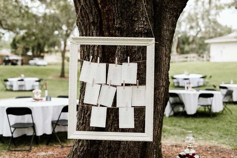 framed with escort cards hanging from tree
