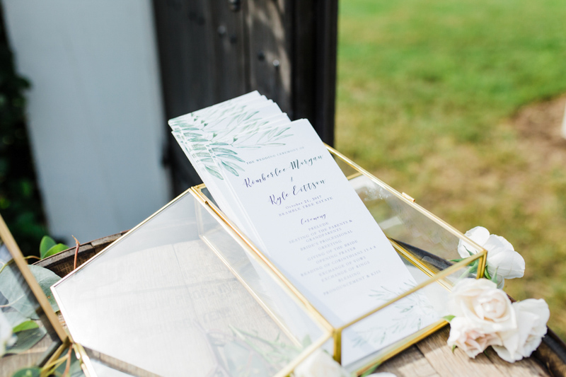 watercolor wedding ceremony programs in gold trimmed box