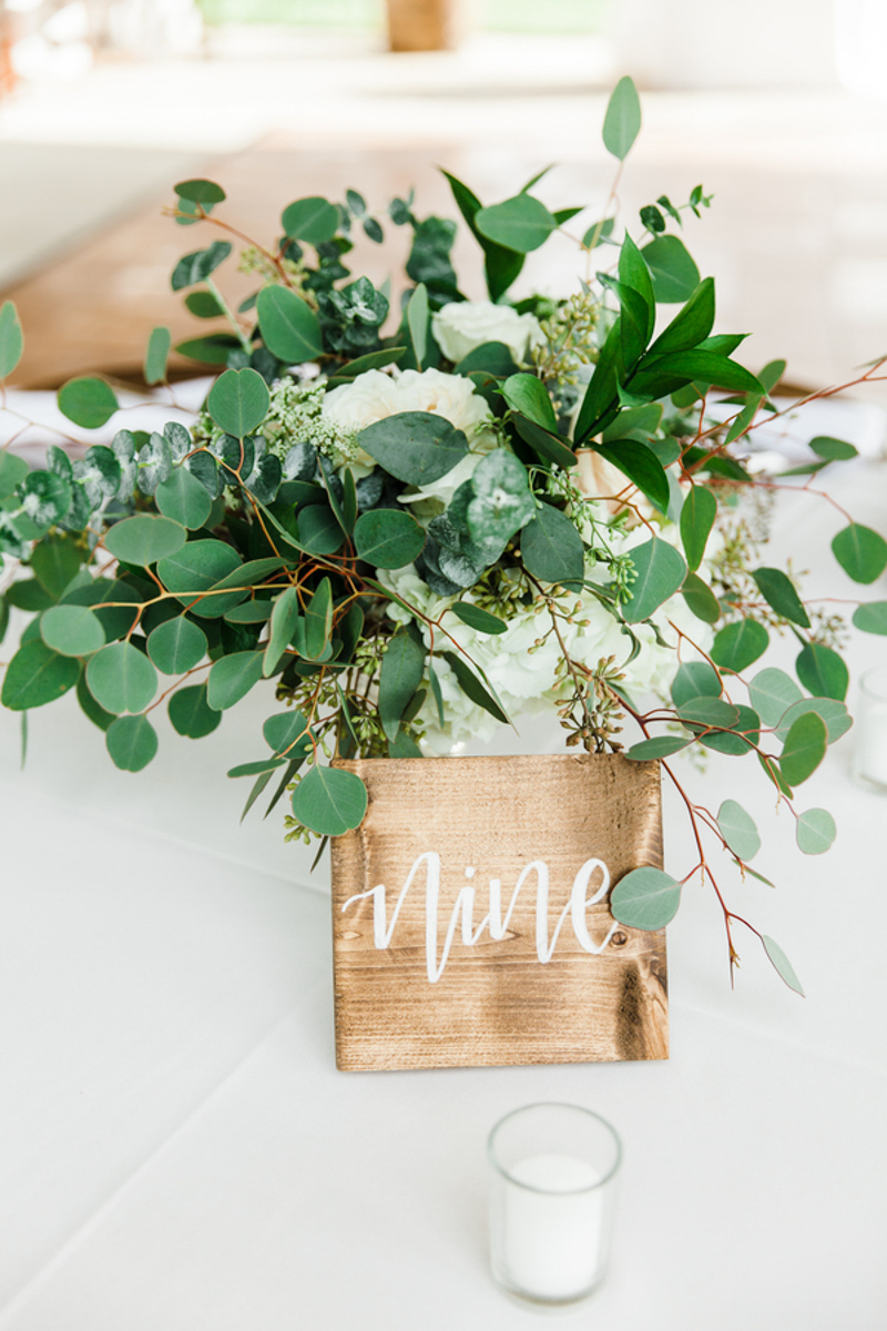 rustic wooding wedding table number on table