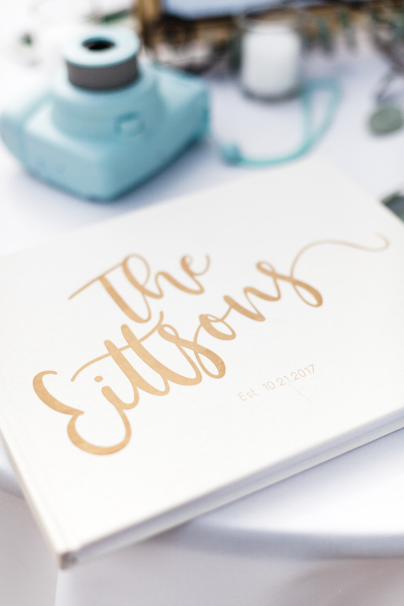 instapix wedding guestbook on white linen