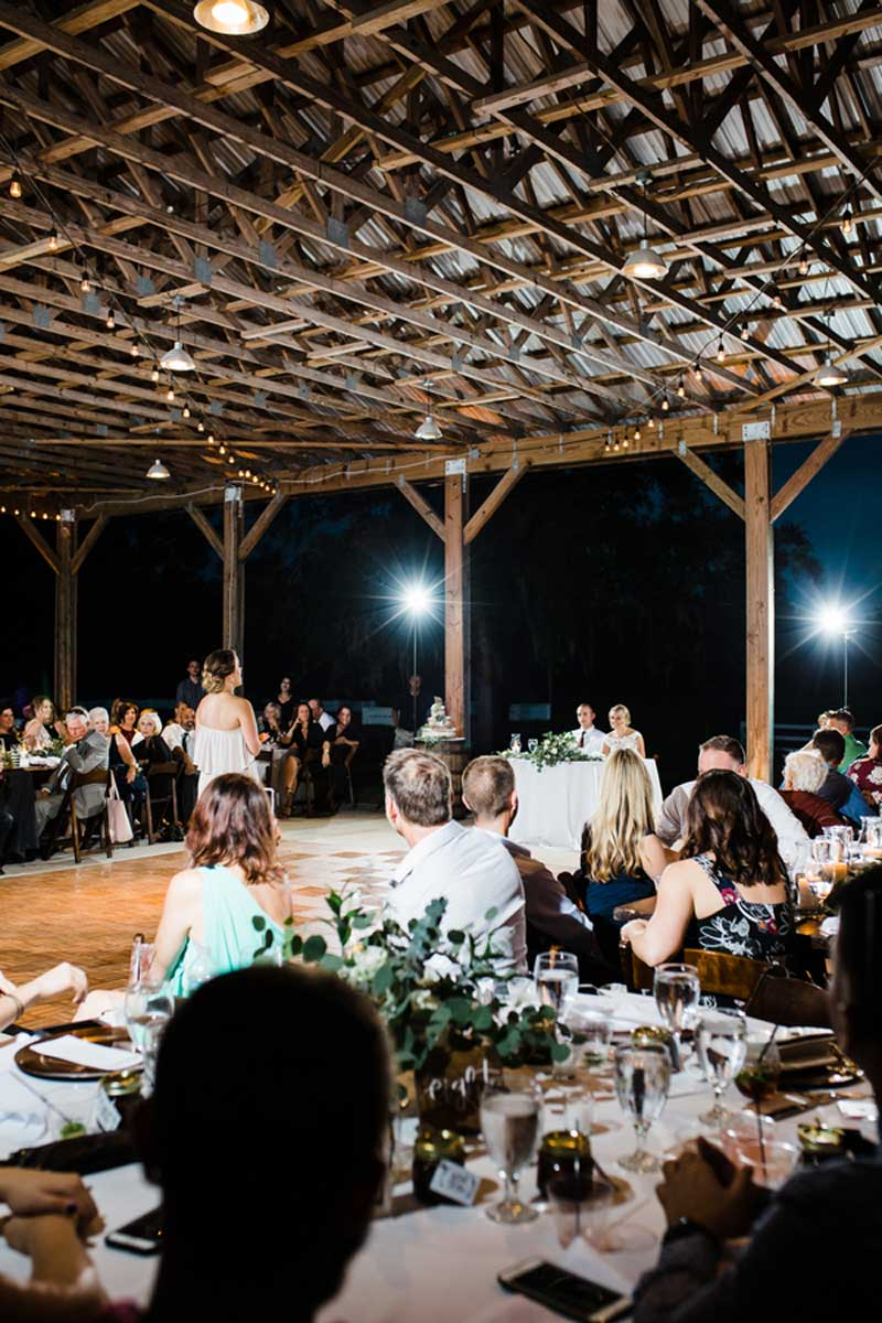 maid of honor giving speech at wedding reception