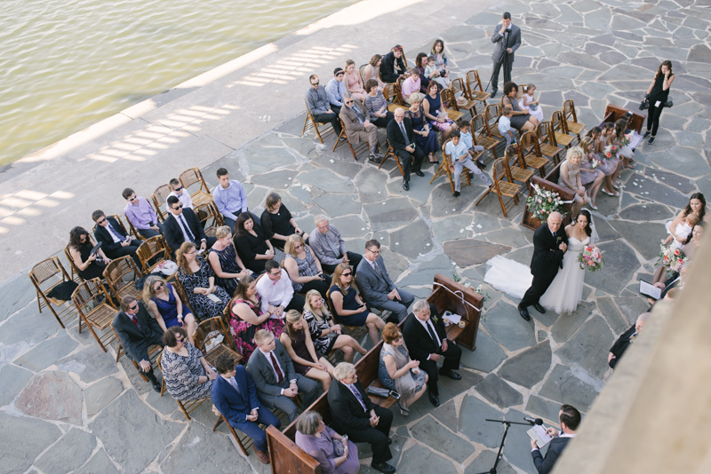 birdseye view of wedding ceremony
