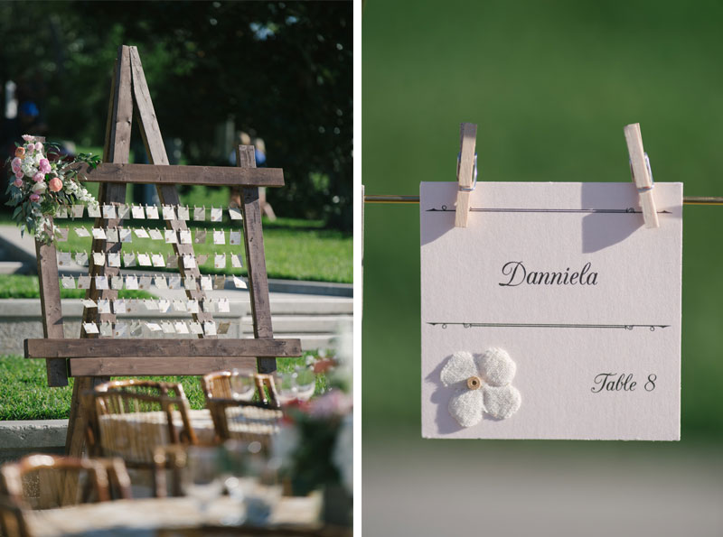 rustic wood escort card display on easle