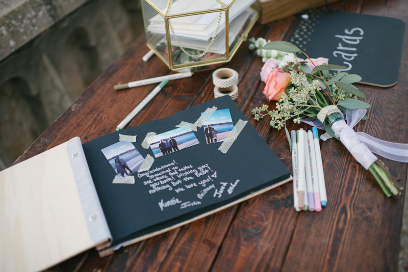 scrapbook guestbook on farm table