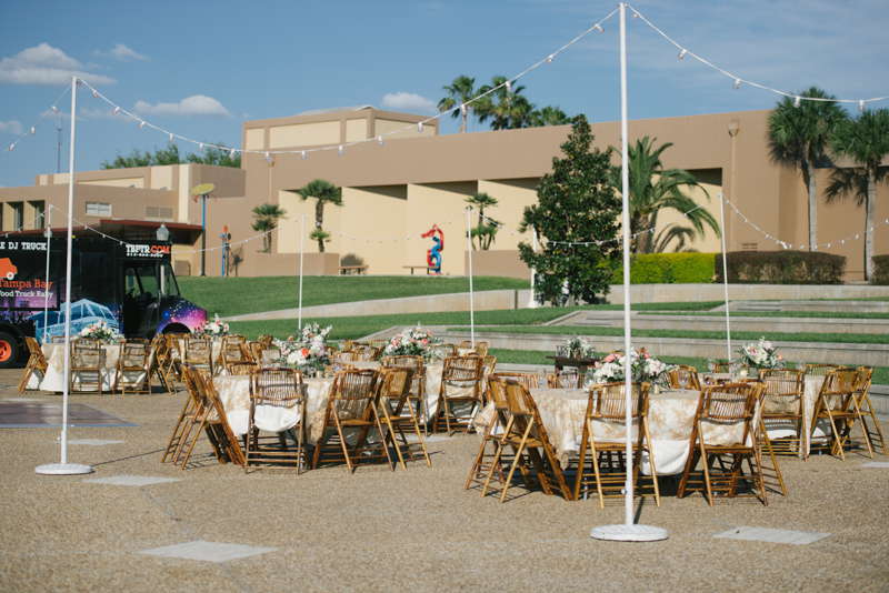 outdoor reception space for Loggia at Lake Mirror wedding