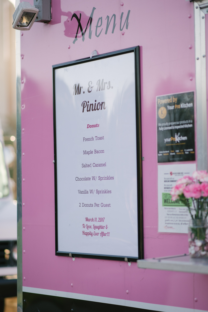 donut food truck at wedding