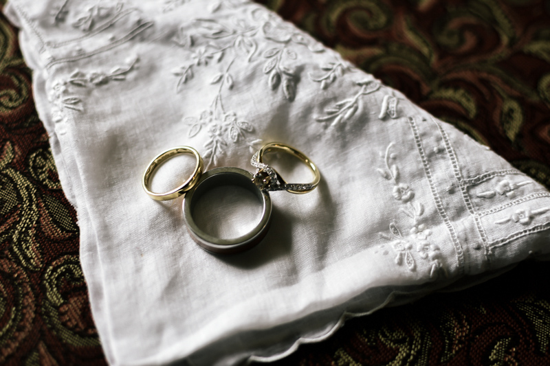 wedding rings on vintage handkerchief