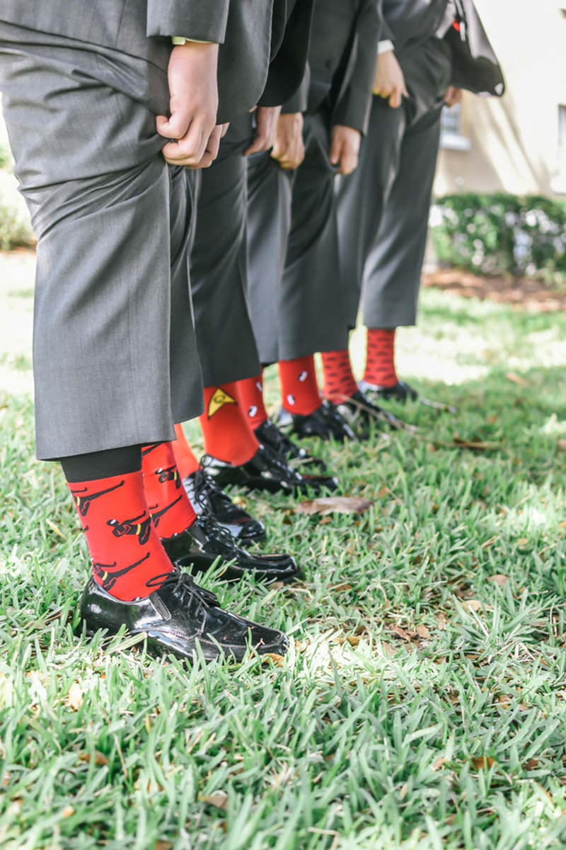 groomsmen red and black socks