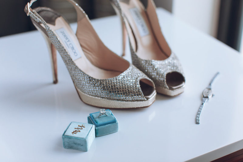 Jimmy Choo wedding shoes and engagement ring