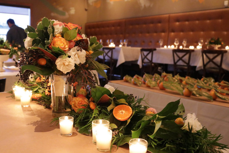 citrus inspired wedding reception table garland