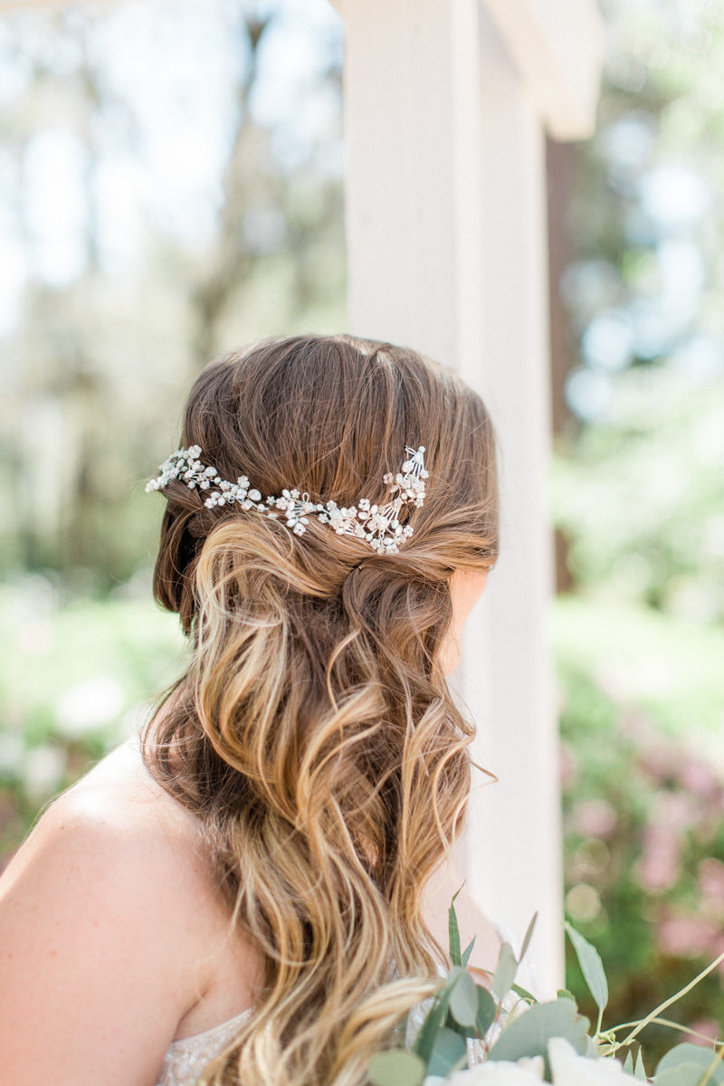 loose bridal waves with Maria Elena Headpieces barrette