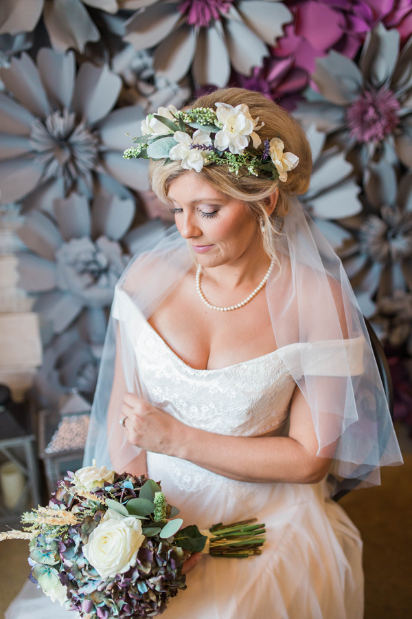 Bride in floral headpiece