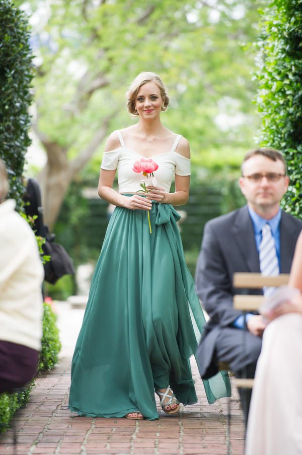 White and green bridesmaid dress