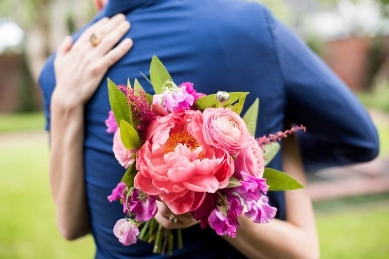 Bold, pink bridal bouquet