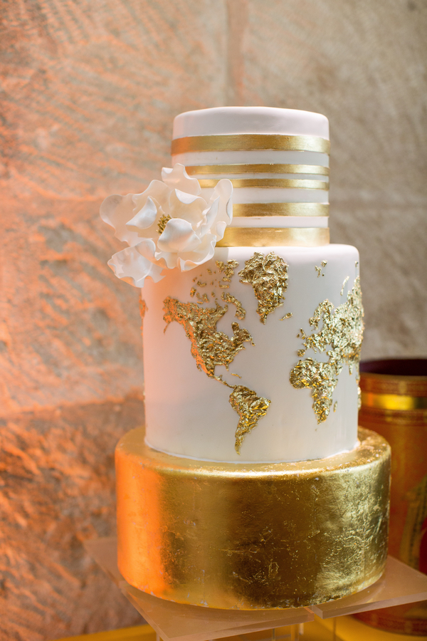 White and gold foil wedding cake