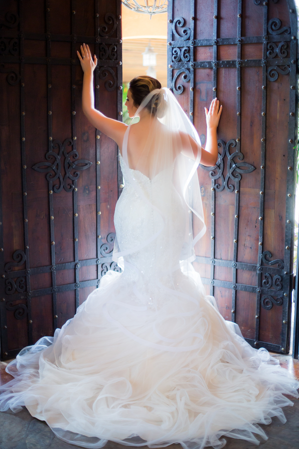 Stunning bridal portrait with ruffled wedding dress
