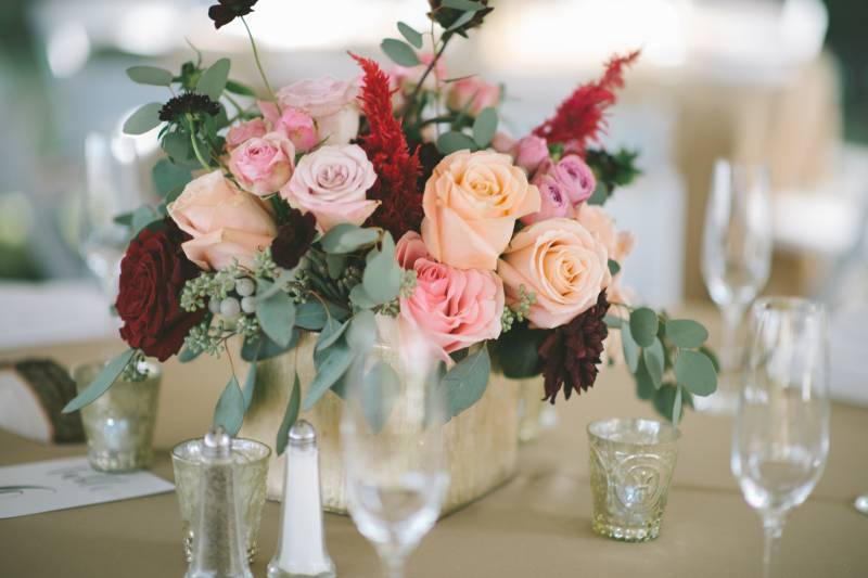 Peach, pink, and green rose centerpiece