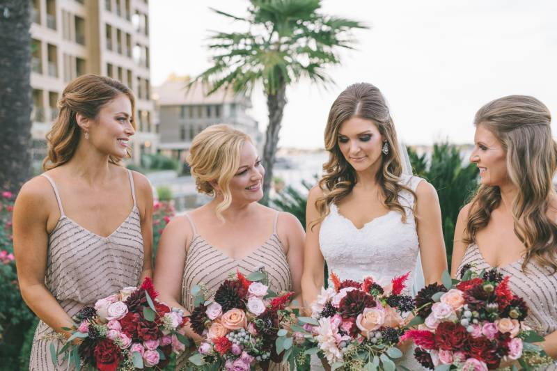 Bride and bridesmaids in gold dresses