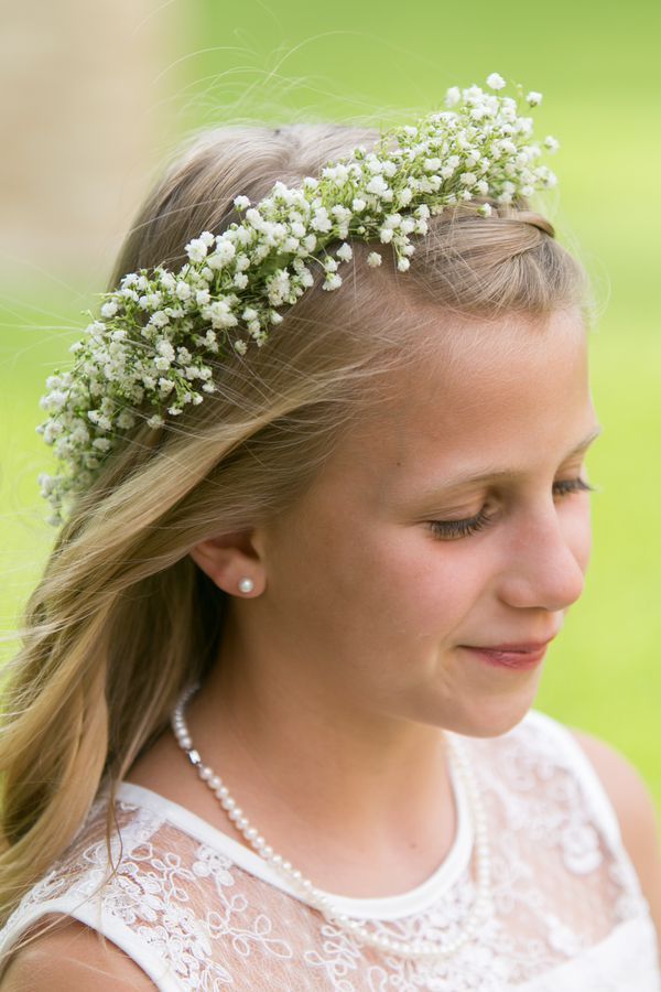 Flower girl baby's breath crown