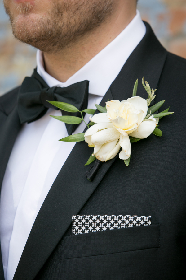 Boutonniere with unique pocket square