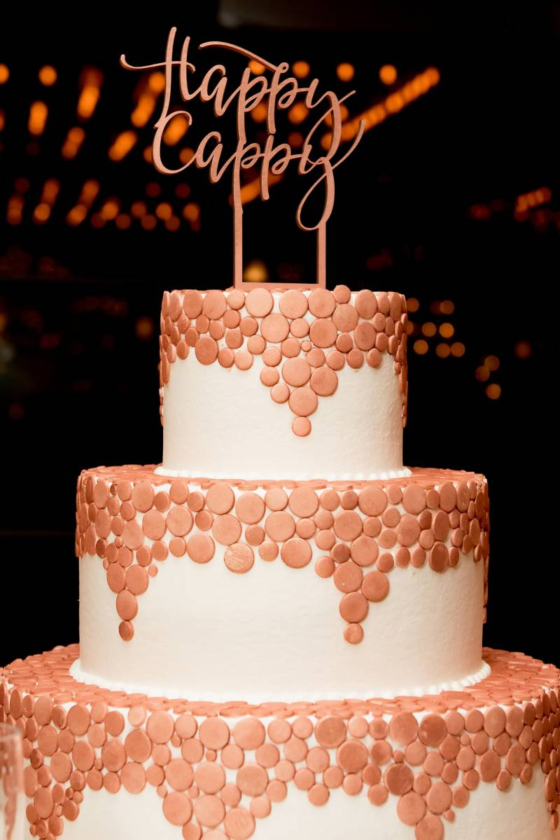 Wedding cake with gold accents
