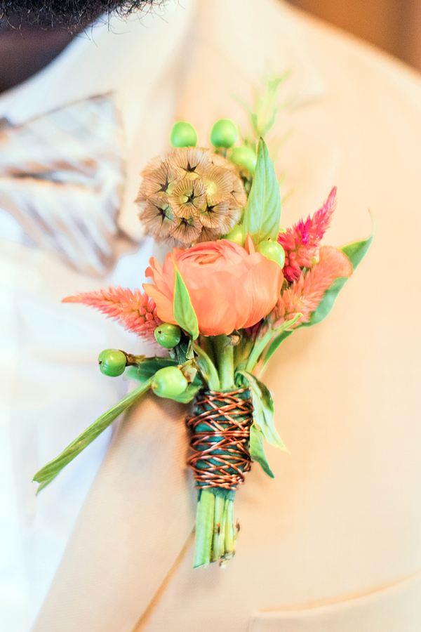 Boutonniere with copper wiring