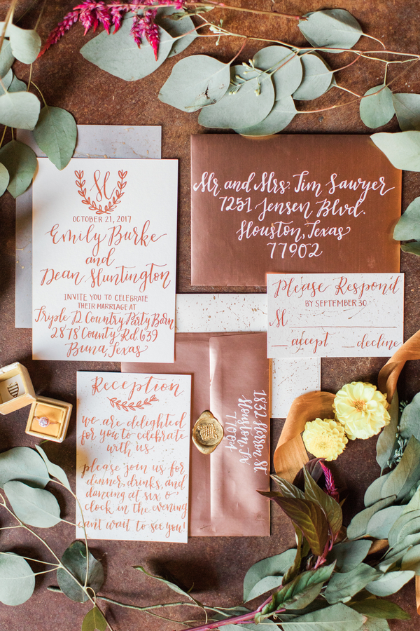 Copper wedding invitation suite
