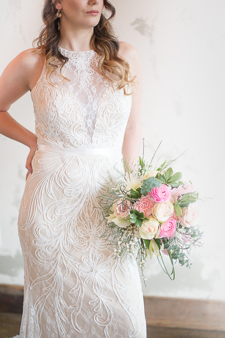 Hi-neck lace wedding dress