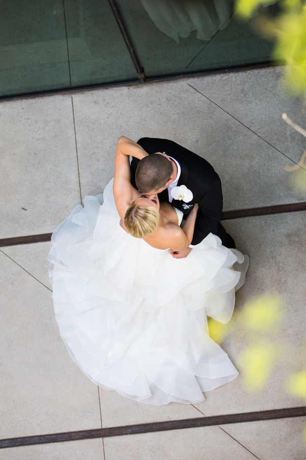 Stunning overhead shot of bride and groom