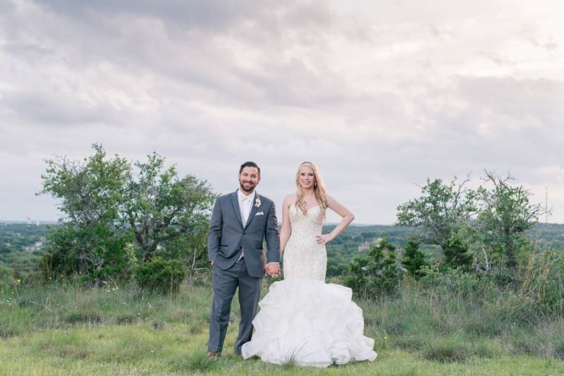 Bride and groom in outdoor setting