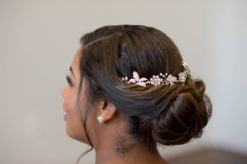 Bridal updo with jeweled headpiece