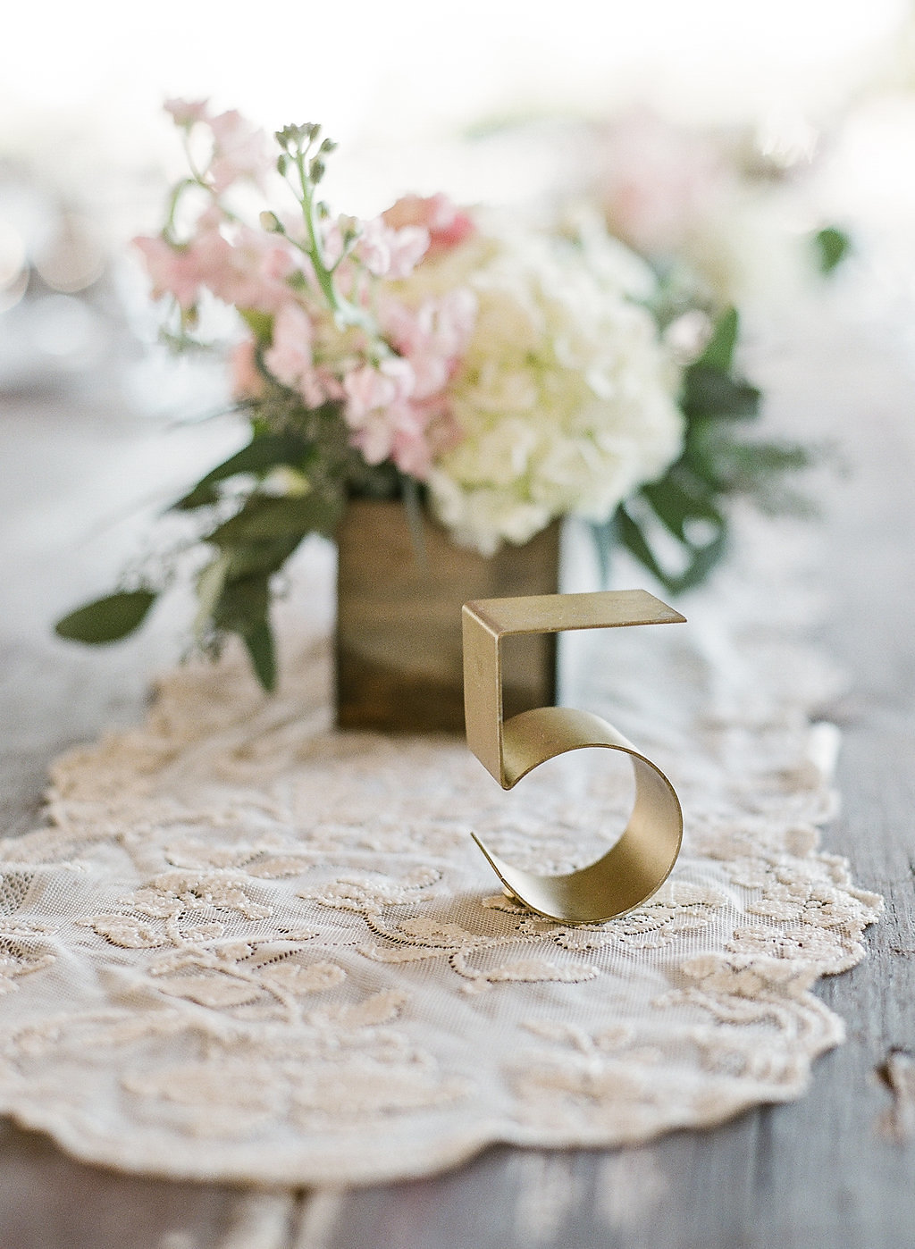 Metallic gold table number