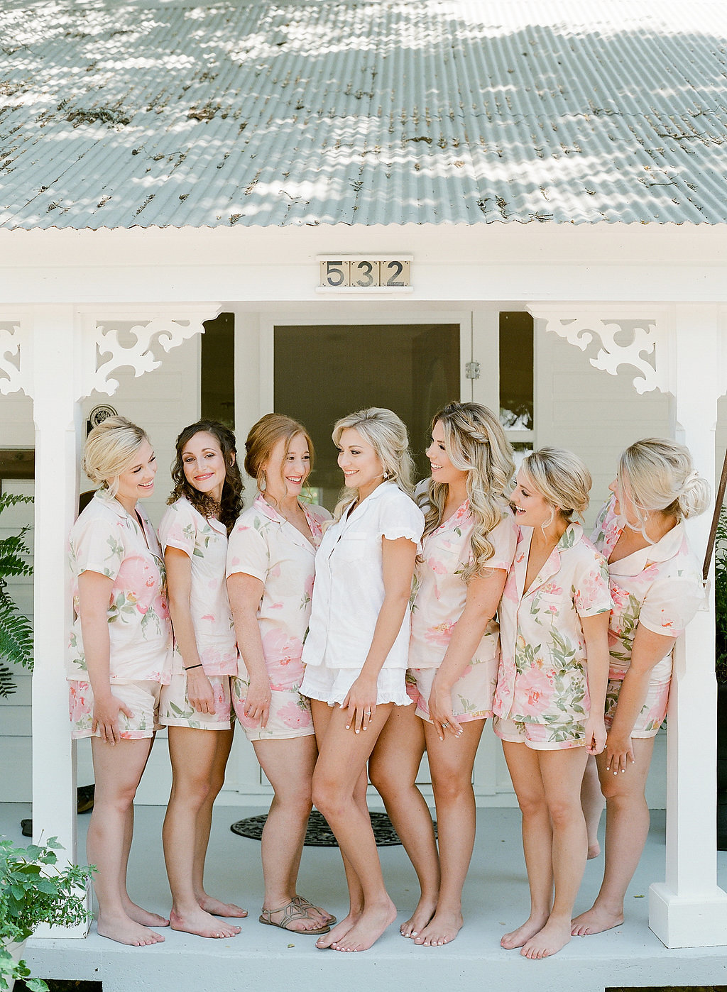 Matching bridesmaids floral short sets
