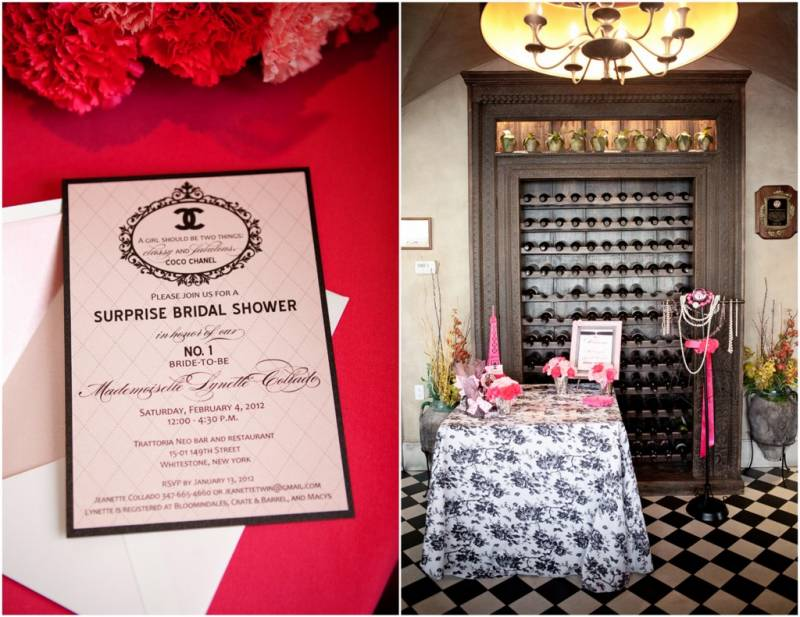 Stationery by creative outlook designs real nyc bridal shower check out this awesome coco chanel inspired bridal shower with invitations escort cards menus and signs by creative outlook designs and photographs by filmwisefo