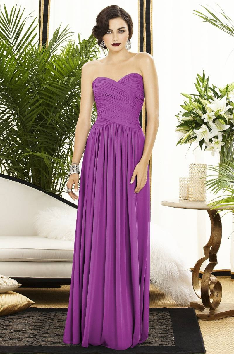 This Full Length Lux Chiffon Orchid Bridesmaid Dress By Dessy Features A Gorgeous Sweetheart Neckline Makes Dramatic Statement