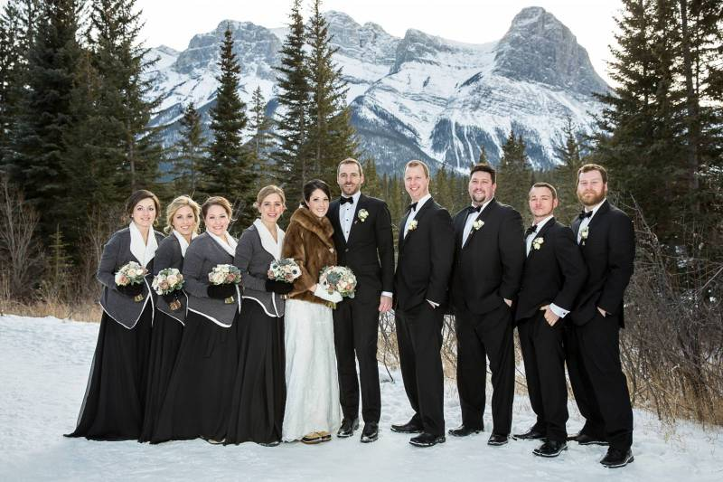 Bridal party, winter wedding, canmore wedding, Canmore wedding photographer, mountain wedding, winte