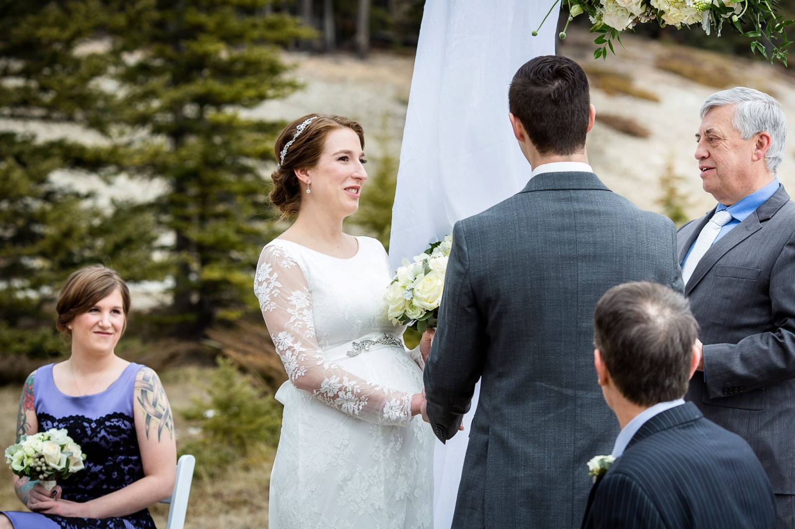Outdoor Winter Wedding Photography: Romantic Outdoor Winter Wedding At Two Jack Lake, Banff